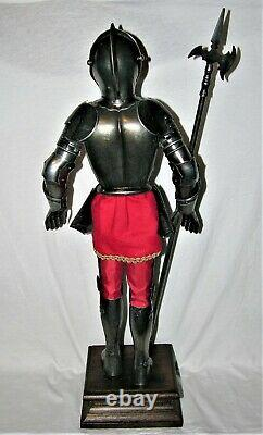 Medieval Knight Metal Suit of Armor with Long Weapon on Base