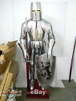 Medieval Knight Suit Of Armor 15th Century Combat Full Body Armour Shield As05