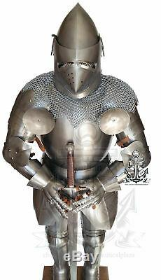 Medieval Knight Suit Of Armor Full Body Armour Suit WithSword/ Pig Face Helmet