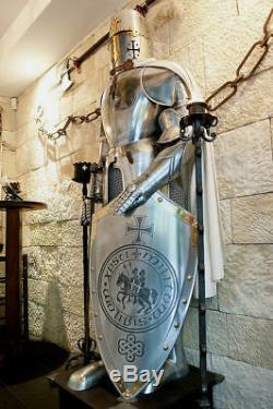 Medieval Knight Suit Of Armor Templar Combat Full Body Armour Stand