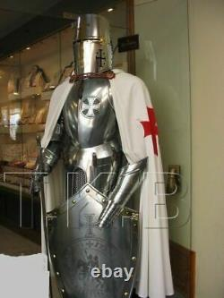 Medieval Knight Suit Of Armor Templar Combat Full Body Armour Stand and base