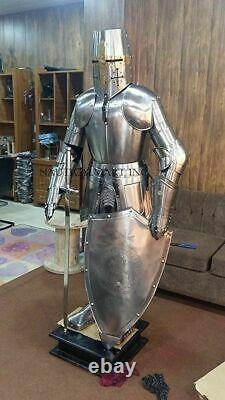 Medieval Knight Suit Of Armor Templar Combat Full Body Armour base and Stand