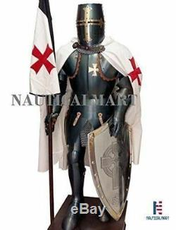 Medieval Knight Suit Of Templar Armor WithSword Combat Full Body Armor Stand
