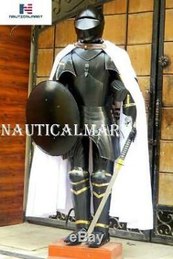 Medieval Knight Suit of Armor Sword, Shield, Cloak Combat Blackened Body Armour