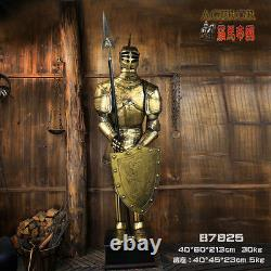 Medieval Knight Suit of Armor with Spear and Shield Handmade Iron Antique