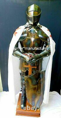 Medieval Knight Suit of Templar Armor With Sword Combat Full Body Armour Stand