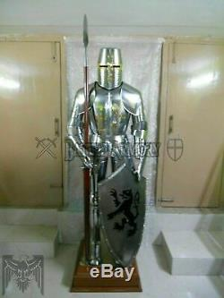 Medieval Knight Suit of Templar Armor WithSword Combat Full Body Armour Stand