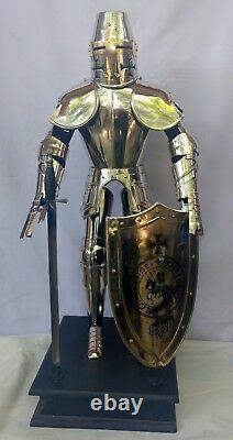 Medieval Knight Templar Armor Suit (Miniature) With Sword & Shield 2 Feet