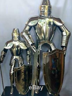 Medieval Knight Templar Armor Suit with Sword Shield 1small 1big 6 Feet Handmade