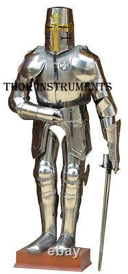 Medieval Knight Templar Armor Suit with Sword & Stand