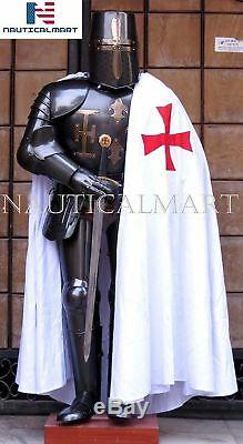 Medieval Knight Templar Crusader Wearable Combat Armor Full Suit With Stand Gift