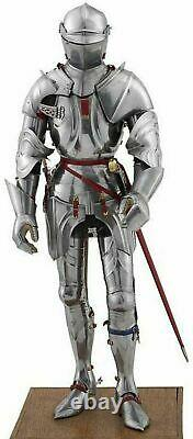 Medieval Knight Wearable Suit Of Armor Crusader Combat Full Body Armour (Silver)