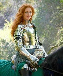Medieval Lady Armor with armor, Female knight, Warrior girl Suit Battle Half Bod