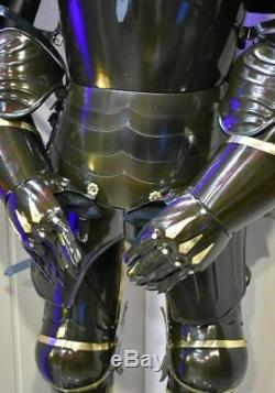 Medieval Larp Knight Wearable Full Suit Of Armor Reenactment Black Wearable Suit