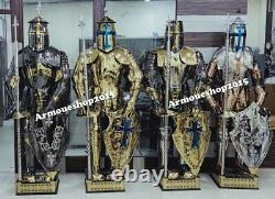 Medieval Set Of 4 Stainless Steel Knight Suit Of Armor Templar Full Body Armor