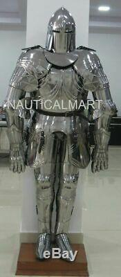 Medieval Silver Knight Wearable Suit Of Armor Crusader Gothic Full Body Armour