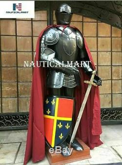 Medieval Steel Black Wearable Knight Crusader Full Suit of Armour Costume Shield