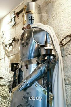 Medieval Steel Knight Wearable Suit Of Crusader Combat Full Body Armour Shield
