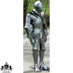 Medieval Suit Of Templar Armor Maximilian Armour Closed Helmet Rare Knight Prop
