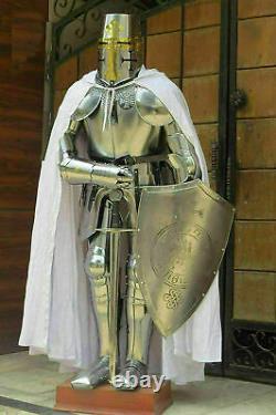 Medieval Sword Knight Suit Armour Templar Combat Full Body Shield Helmet Gift