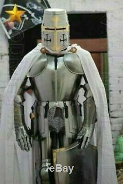 Medieval Templar Knight Suit Of Armor Combat Full Body Armour Shield Sword Stand