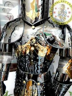 Medieval Wearable Full Body Suit Steel Knight Suit Of Armour Crusader Spear Base