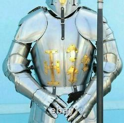 Medieval Wearable Halloween Day Templar Suit Of Armour Knight Shield Sword Base