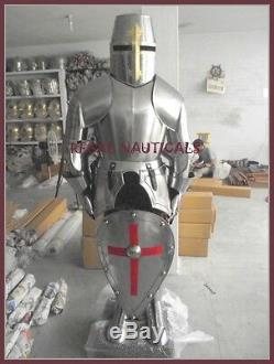 Medieval Wearable Knight Crusader Full Suit Of Collectible Armor Costume Shield