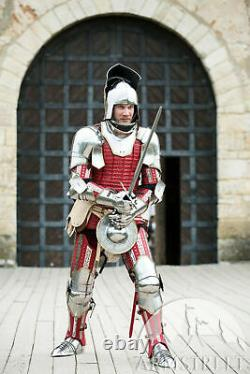 Medieval Wearable Red The King Maker Full Suit Of Armour Knight Body Costume