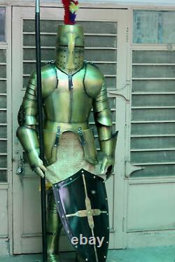 Medieval Worrier Costume Knight Suit Of Armor Crusader Gothic Full Body Armour