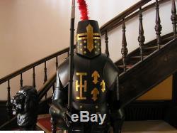 NEW 16GA Medieval Templar Knight Armor Full Body Crusader Combat Black Suit SCA