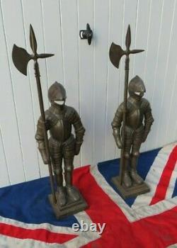 Pair Of Antique Vintage Fireguard Cast Iron Medieval Knights In Suit Of Armour