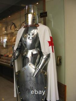 Rare Medieval Knight Crusader Full Suit Of Armour Wearable LARP Costume