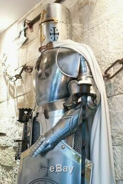 Rare Medieval Knight Suit Of Templar Armor WithSword Combat Full Body Armor Stand