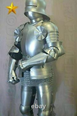 Rare SCA LARP Medieval Gothic Knight Full Suit of Armor 16th Century chain Gift