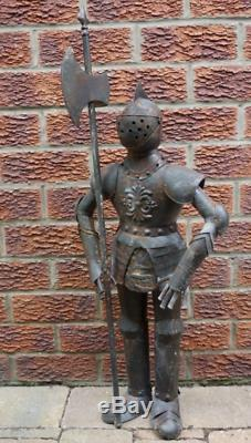 Rusty Style Metal Knight Suit Of Armour Medieval Statue Garden Indoors