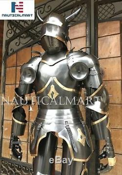 SCA LARP Templar Gothic Medieval Knight Combat Armor Full Suit With Stand Gift