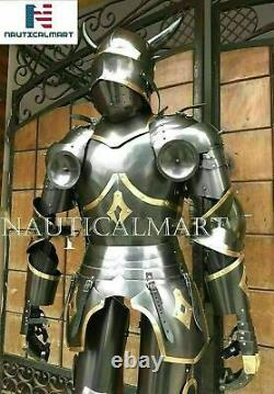 SCA Templar Gothic Medieval Knight Combat Armor Full Suit With Stand Gift