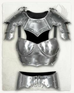 Steel Medieval Knight Armor Queen Lady Woman Half Body Armor Suit Costume