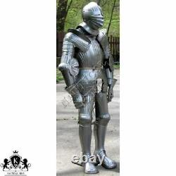 Suit of Armor 15th Century Combat Medieval Knight Full Body Armour With Stand