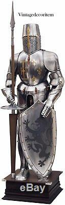 Suit of Armor Full Body Medieval Knight Armour Medieval Combat With Wooden Stand