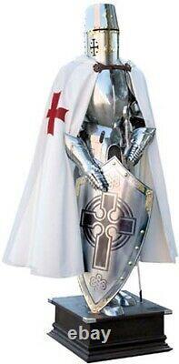 Templar Knight Suit of Medieval Armor (Templar Scottish Cross) with Shield