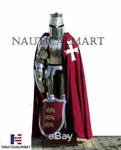 Templar Wearable Medieval Knight Combat Armor Full Suit With Stand 6 FEET DMH328