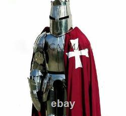Templar Wearable Medieval Knight Combat Armour Full Suit With wooden Stand