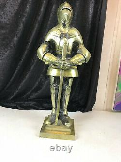 Vintage Suit of Armor Knight Statue Brass Bronze Color Base 24.5 tall Medieval