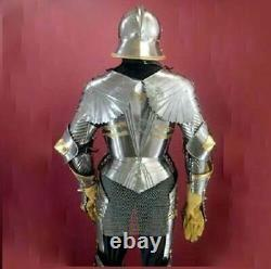 Wearable Medieval Knight Suit Of Armor Crusader Brass Full Body Armour Costume