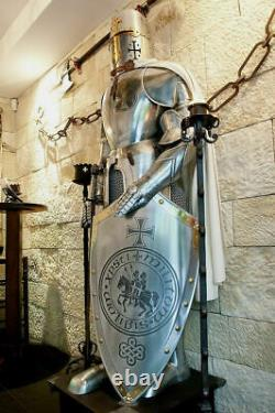 Wearable Medieval Knight Suit Of Armor Crusader Full Body Armour Sword Shield